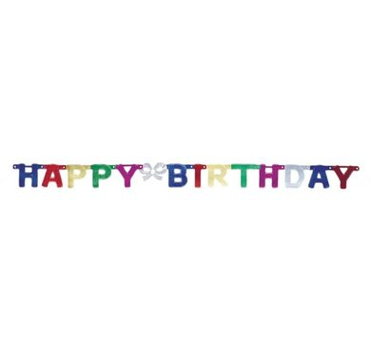 Banner Happy Birthday metalický