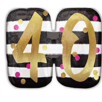 "Fóliový balónek supershape ""40"" Pink & Gold Milestone"
