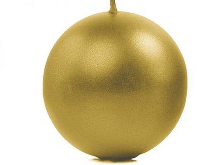 Svíčka koule 10 cm zlatá