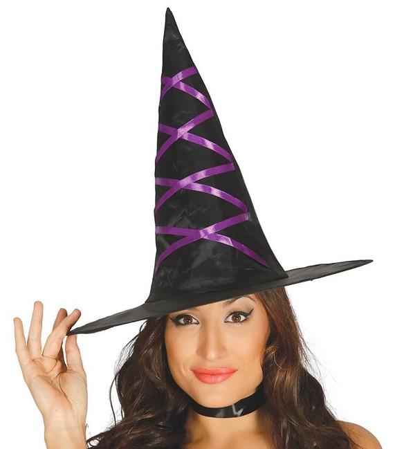 Levně Čarodějnický klobouk černý s fialovými stuhami
