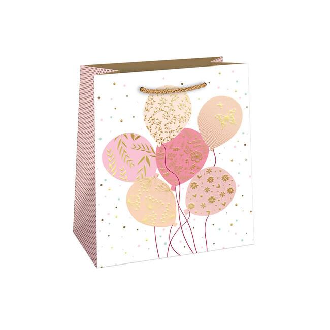 Dárková taška Růžovo zlaté balónky 20x24cm