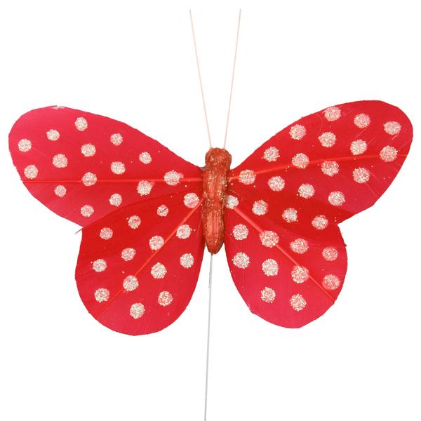 Dekorace na stopce Motýl červený