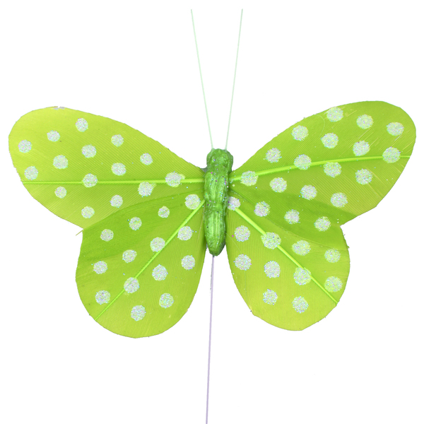Dekorace na stopce Motýl zelený