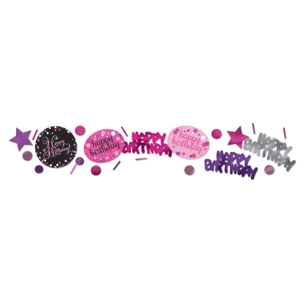 Levně Dekorativní konfety Happy Birthday Pink Diamonds