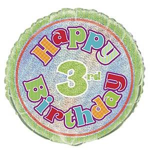 "Levně Fóliový balónek ""3"" Happy Birthday"