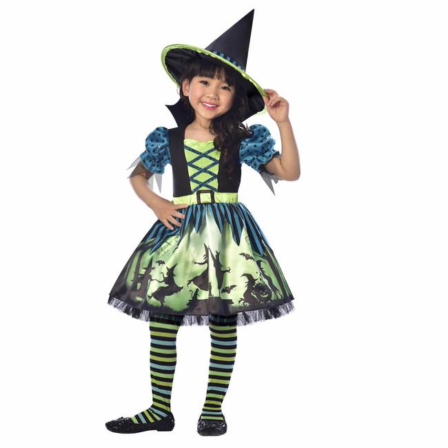 Levně Kostým Čarodějnice zeleno-modrý 6-8 let