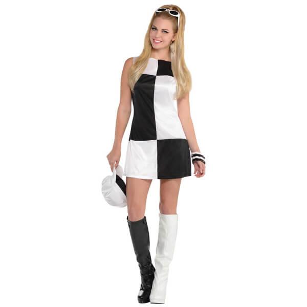 Kostým Retro šaty Bílo-černé L
