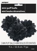3 Pompónové koule čierne