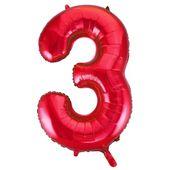 """Balónek """"3"""" červený"""