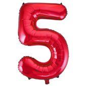 """Balónek """"5"""" červený"""