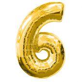"""Balónek """"6"""" zlatý"""