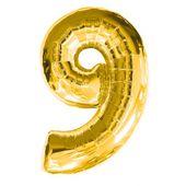 """Balónek """"9"""" zlatý"""