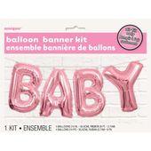 Balónkový banner Baby růžový