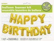 Balónkový banner Happy Birthday zlatý