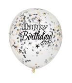 Balónky s konfetami Happy Birthday - černé