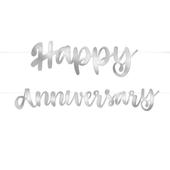Banner Happy Anniversary stříbrný