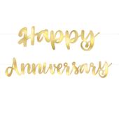 Banner Happy Anniversary zlatý