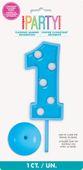 Blikající číselná dekorace 1 - modrá
