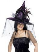 Čarodejnícky klobúk fialový s pierkami a sieťkou