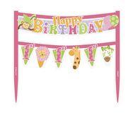 Dekorace na dort 1.narozeniny pink Safari