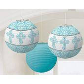 Dekorační lampióny modré křížky
