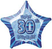 Fóliová hvězda modrá 30