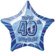 Fóliová hvězda modrá 40