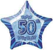 Fóliová hvězda modrá 50