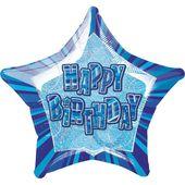 Fóliová hvězda modrá Happy Birthday