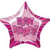 Fóliová hvězda růžová Happy Birthday