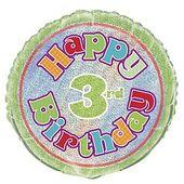 Fóliový balónek ´´ 3 ´´ Happy Birthday