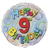 Fóliový balónek ´´ 9 ´´ Happy Birthday