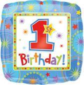 Fóliový balónek 1.narozeniny ohňostroj modrý