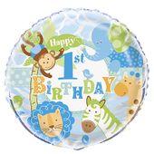 Fóliový balónek 1.narozeniny blue Safari