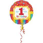Fóliový balónek 1.narozeniny dúhové barvy
