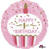 Fóliový balónek 1st Birthday Cupcake růžový