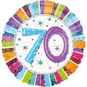 """Fóliový balónek """"70"""" Radiant Birthday"""