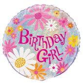 Fóliový balónek Birthday Girl glitz