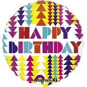 Fóliový balónek Geometric Happy Birthday