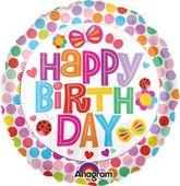 Fóliový balónek Happy Birthday tečkovaný