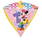 Fóliový balónek diamant Minnie 1.narozeniny
