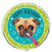 Fóliový balónek Pug Birthday
