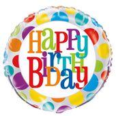 "Fóliový balónek Rainbow ""Happy Birthday"" dots"