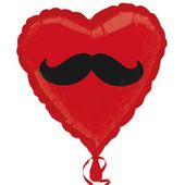 Fóliový balónek srdce Vousy