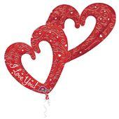 Fóliový multibalónek Interlocking Hearts červený