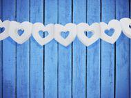 Girlanda srdce bílá s velký výřezem