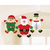 Závěsné Honeycomb dekorace Vánoční postavy