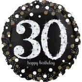 """Jumbo balónek """"30"""" Gold Diamonds"""