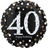"""Jumbo balónek """"40"""" Gold Diamonds"""