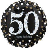 """Jumbo balónek """"50"""" Gold Diamonds"""